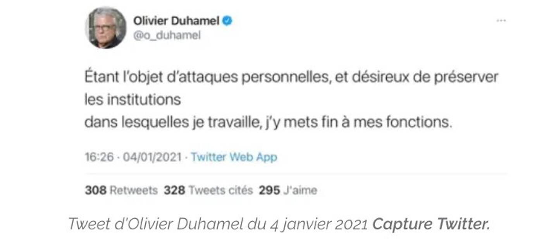 Le dernier message laissé sur Twitter par Olivier Duhamel le 4 janvier dernier