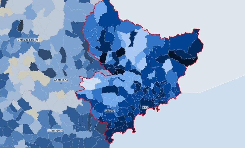 La carte de l'épidémie dans les Alpes-Maritimes, commune par commune
