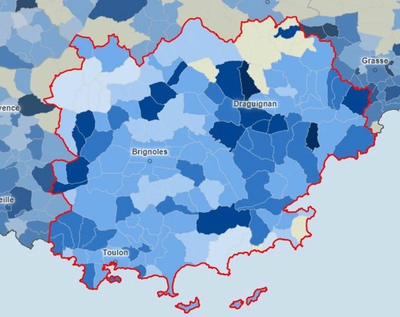 La carte du taux d'incidence dans le Var au 18 décembre.