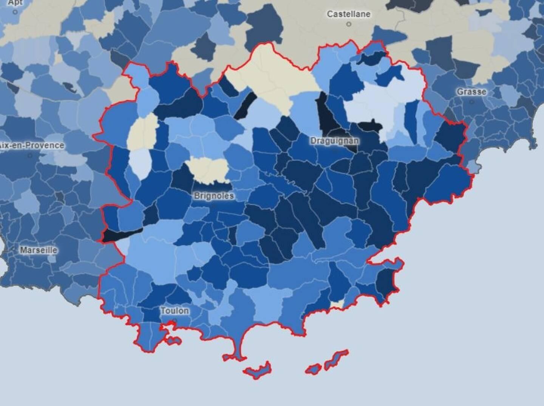 La carte du taux d'incidence dans le Var, commune par commune, au 4 mars 2021.