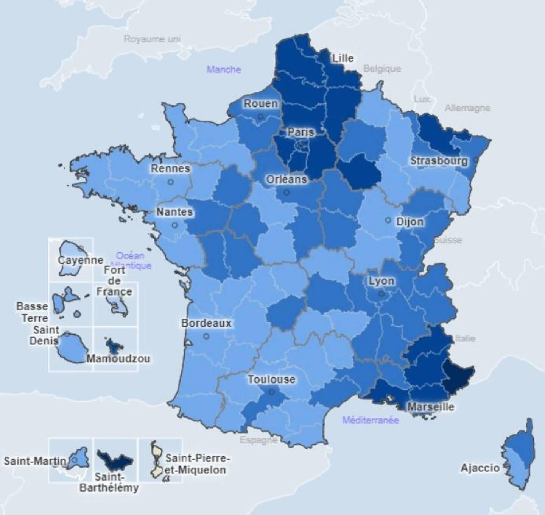 La carte du taux d'incidence hebdomadaire, au 28 février.
