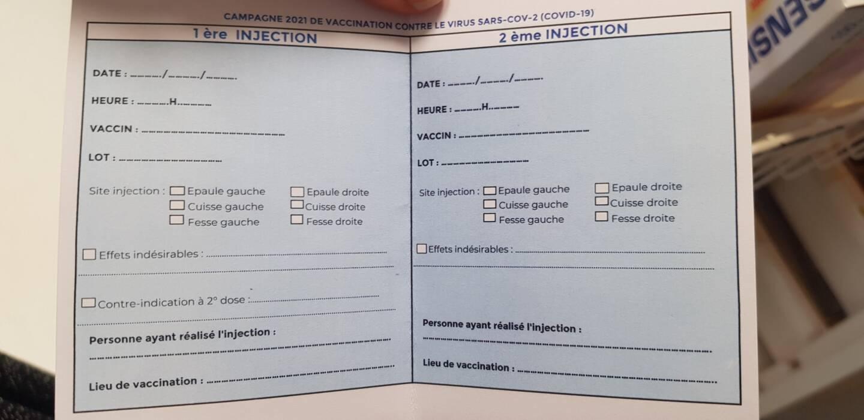 Le document remis aux personnes qui se font vacciner contre la Covid-19.