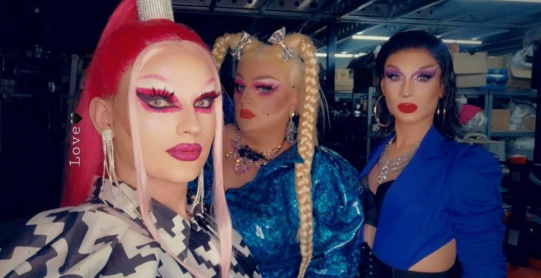 """Tatyana, Saphyre et Millena, trois drag-queens du """"Red kafé"""" à Nice."""