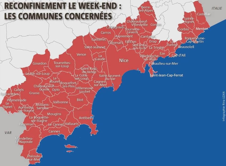 Le confinement du week-end s'étend de tout le littoral des Alpes-Maritimes jusqu'aux limites du Mercantour