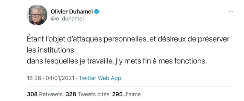 Tweet d'Olivier Duhamel du 4 janvier 2021