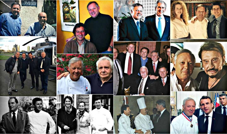 De gauche à droite et de haut en bas: Bernard Loiseau; Laurent Gerra; George Bush; Tom Cuise venu avec sa femme d'alors Nicole Kidman; Michel Drucker accompagné de Laurent Baffie et Laurent Gerra; Michel Sardou; Donald Trump; Johnny Hallyday; François Mitterrand; Romy Schneider; Bill Clinton et Emmanuel Macron.