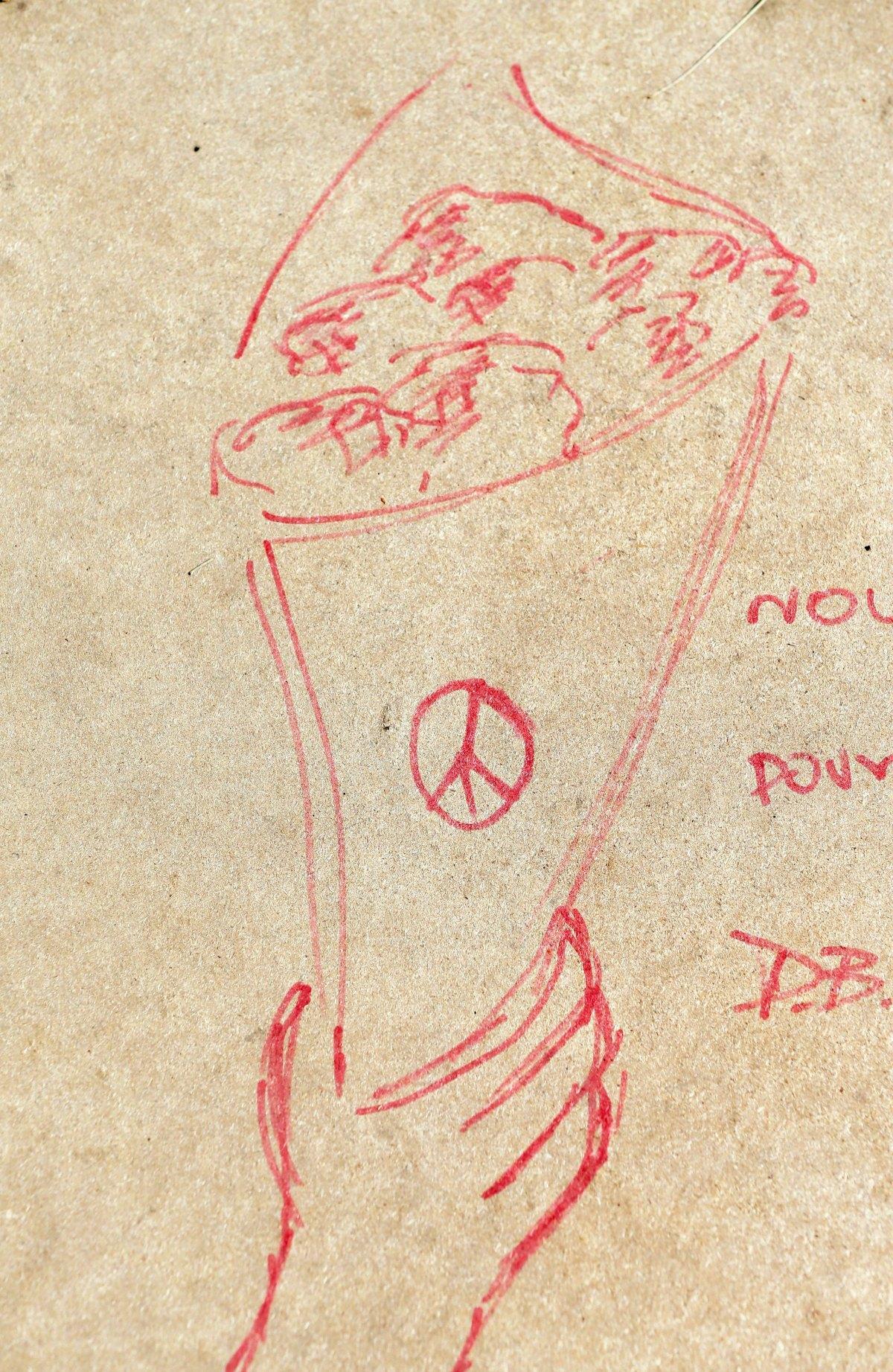 Un dessin au mémorial du 14-Juillet.