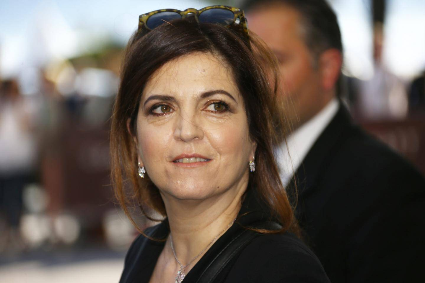Agnes Jaoui  arrive à l'hôtel Martinez de Cannes pour le dîner du Jury avant l'ouverture du 70e Festival de Cannes.
