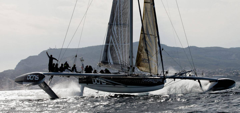 Sortie avec l'Hydroptère qui prépare alors depuis La Ciotat une tentative de record de traversée du Pacifique.