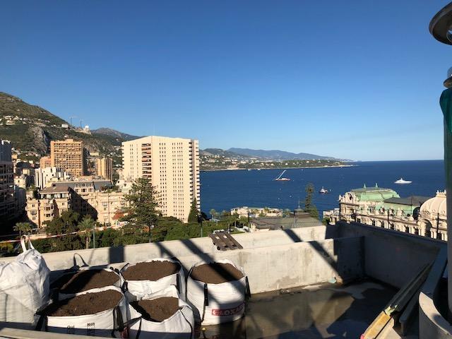 Au premier plan, une piscine privée avec vue sur le Casino de Monte-Carlo au dernier étage de chaque immeuble.