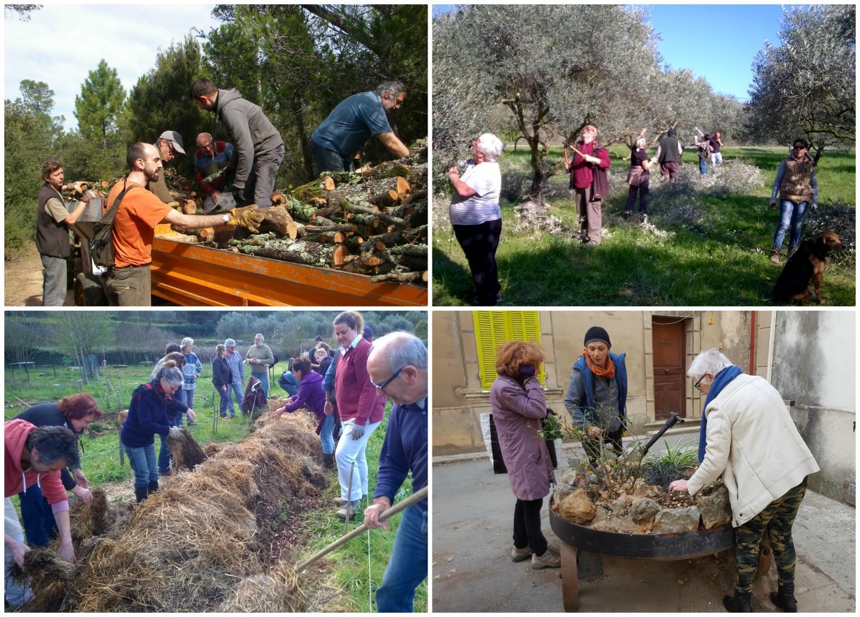Parmi les actions menées par l'Agenda 21, proposées aux habitants du village: L'Orée du bois, l'entretien bénévole des jardinières communales, la formation permaculture aux jardins partagés ou la taille d'oliviers...