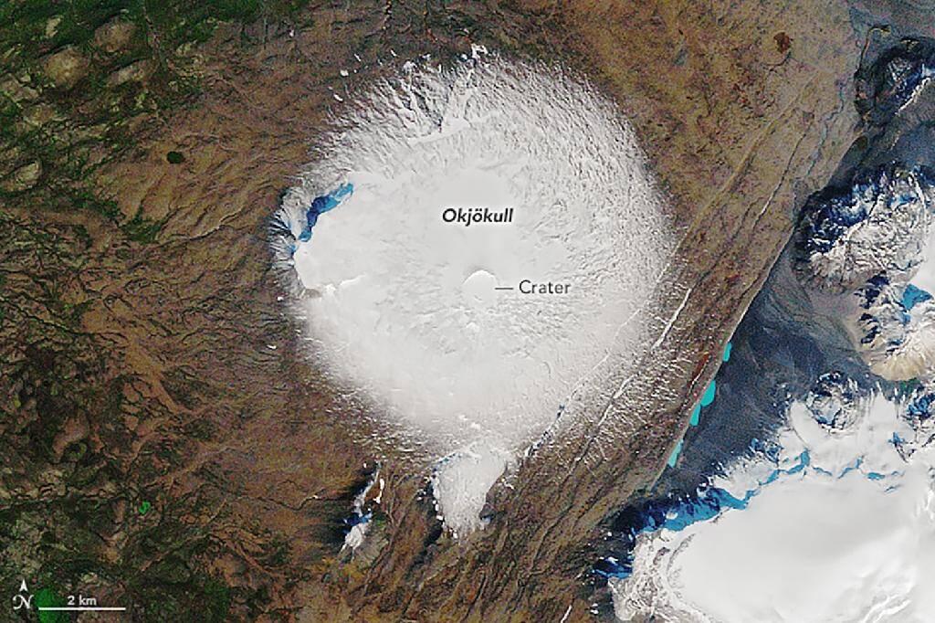 Image satellite de la Nasa du 7 septembre 1986 du glacier islandais Okjökull