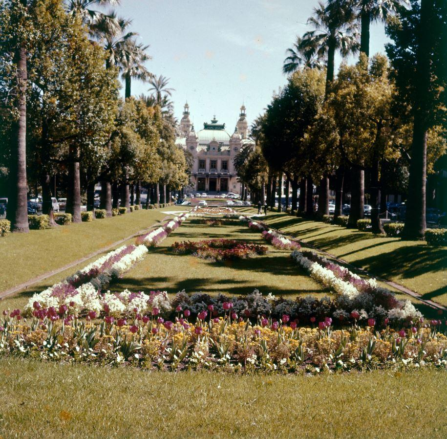1969 : le jardin en pente douce est plus fleuri.