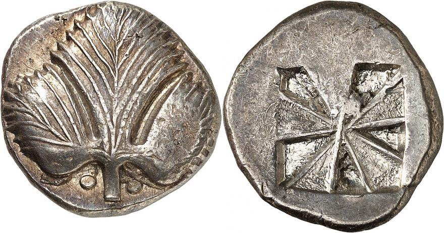 Il s'agit là de la doyenne de la vente. Une pièce sicilienne d'environ 500 ans avant notre ère, ornée d'une feuille de persil.
