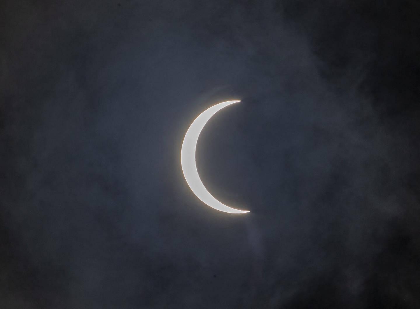 L'éclipse observée dans le ciel de Katmandou au Népal.