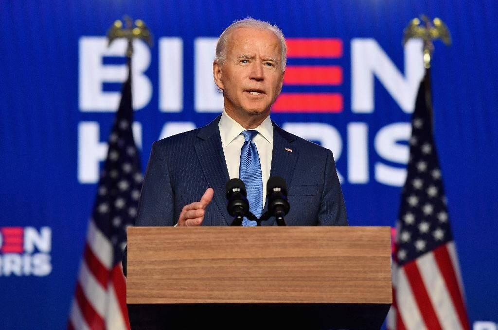 Le candidat démocrate à l'élection pésidentielle américaine Joe Biden fait un discours à Wilmington, le 6 novembre 2020