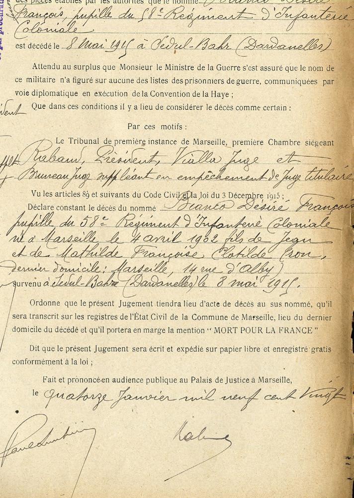 """Jugement du tribunal de Marseille du 14 janvier 1920 avec mention """"Tué à l'ennemi"""""""