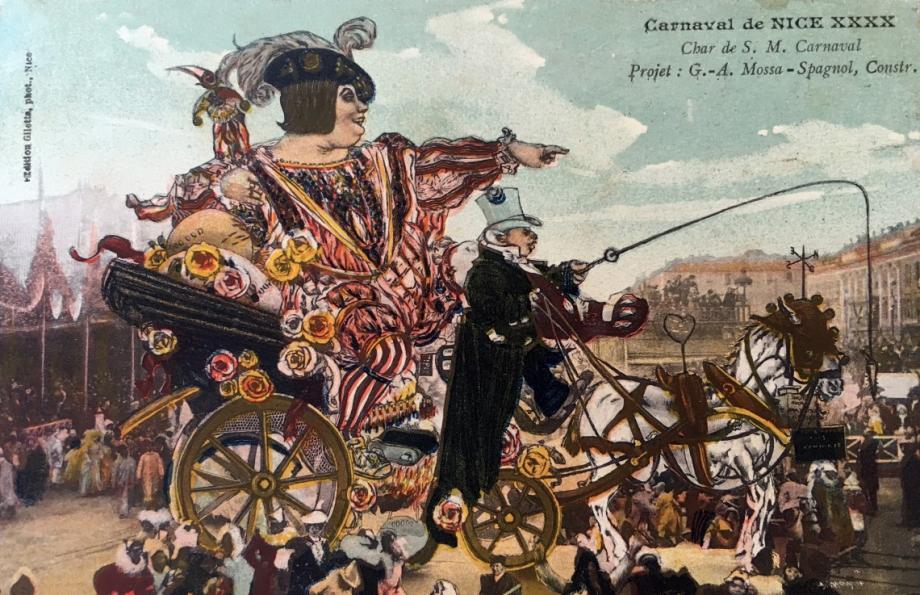 Le roi du Carnaval, en 1912, montrant du doigt le voleur de La Joconde.