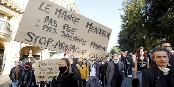 La manifestation organisée par l'association Nice la vie, contre les mesures gouvernementales pour lutter contre la Covid-19.