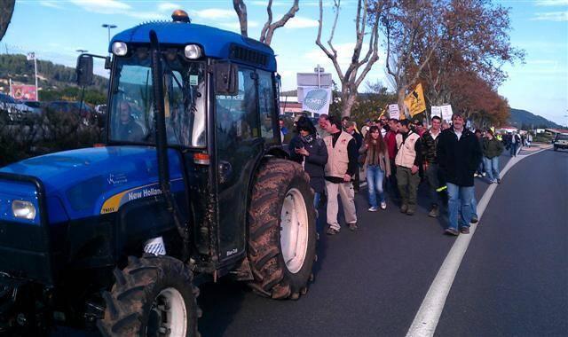 Le cortège, emmené par les tracteurs des Jeunes agriculteurs du Var et des membres de la FDSEA.