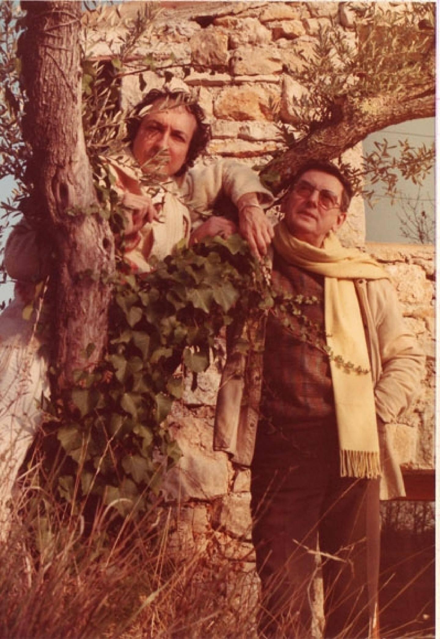 André Franquin (à droite ) et Numa Sadoul à Callian en 1986.