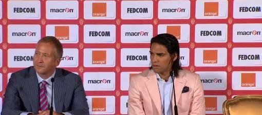 Le directeur sportif de l'AS Monaco aux côtés de Radamel Falcao, ce mardi après-midi à l'hôtel Hermitage.