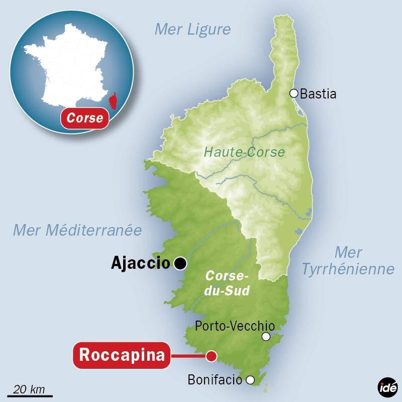 Carte de localisation de Roccapina en Corse.