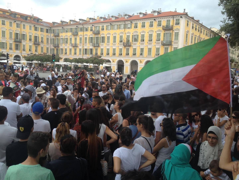 rassemblement pro palestine place garibaldi a nice malgré interdiction prefecture