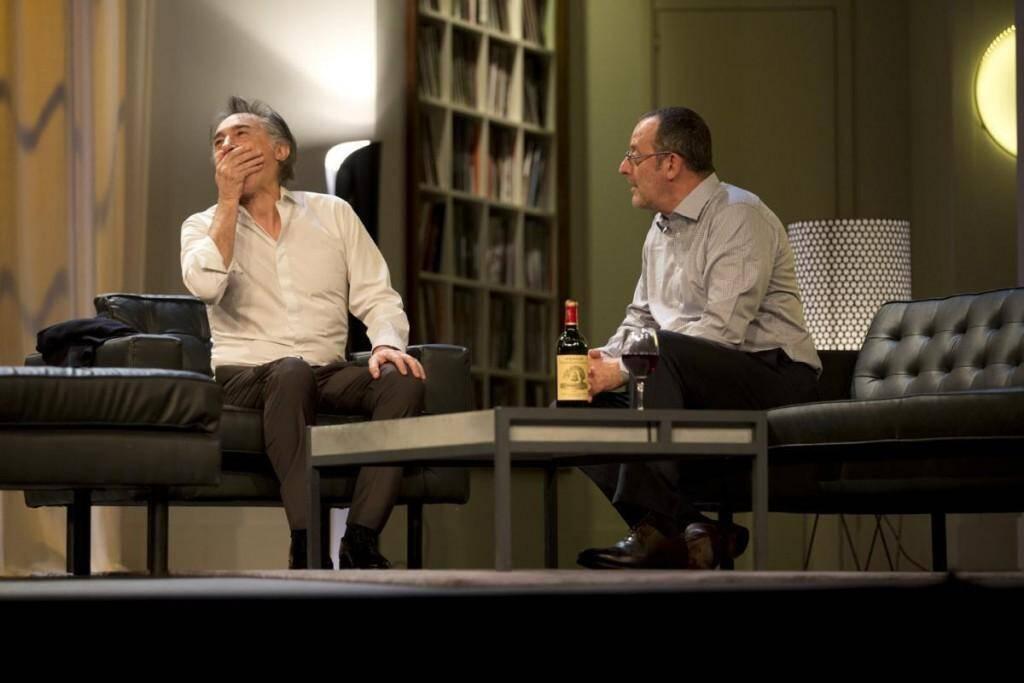 """Max et Paul, alias Richard Berry et Jean Reno, dans la pièce de théâtre """"Nos femmes""""."""