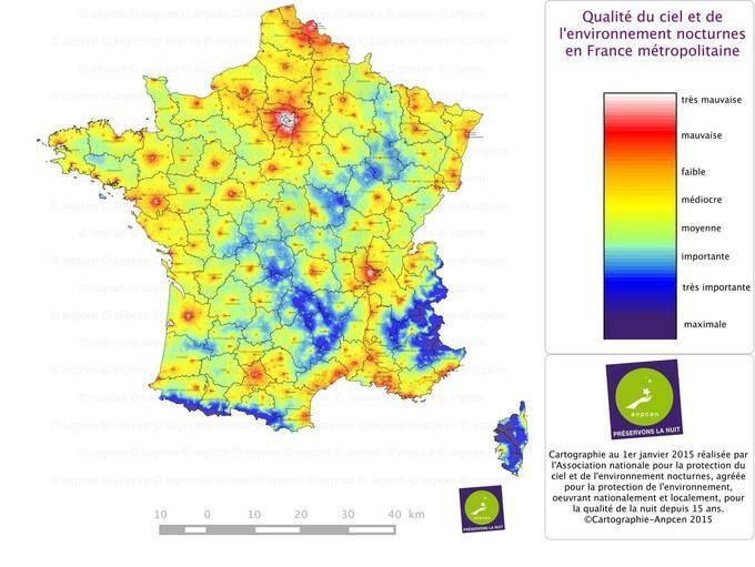 La carte de la qualité du ciel et de l'environnement nocturnes en France