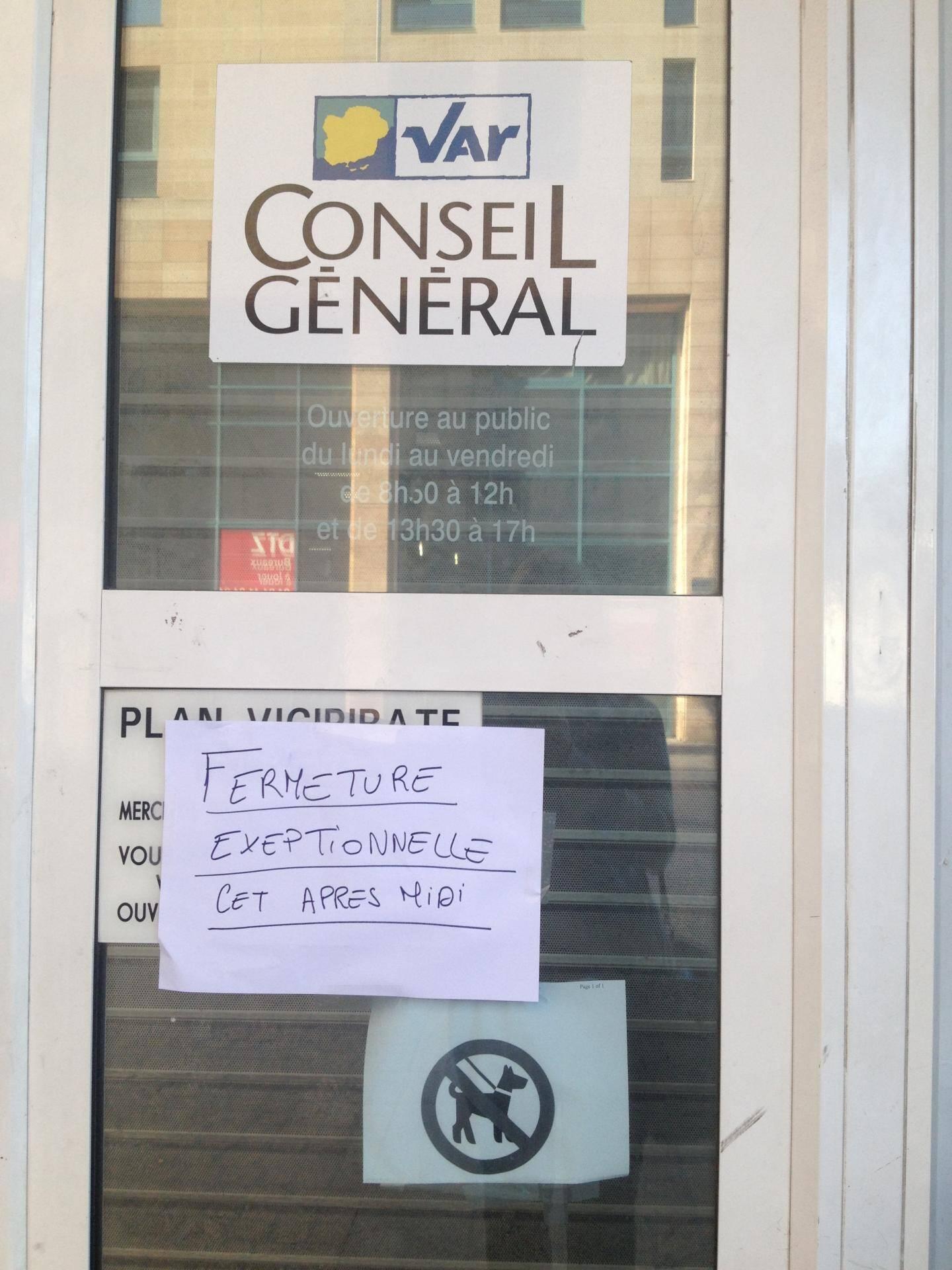 Le bureau du Conseil général en centre-ville de Toulon fermé suite à un incident