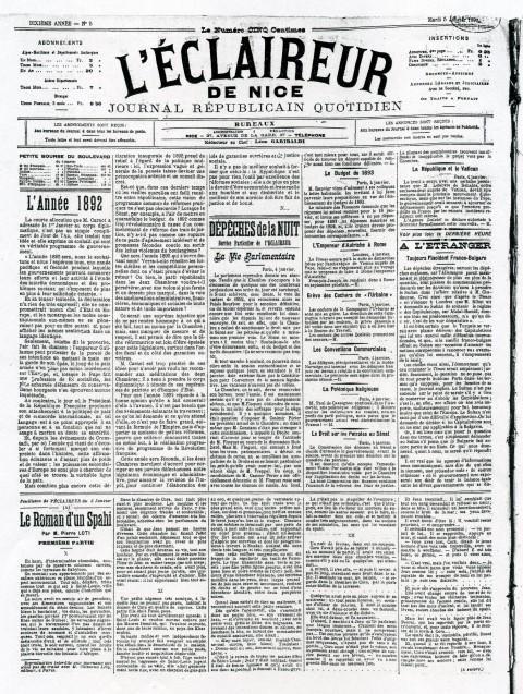 La une du 5 janvier 1892 de L'Éclaireur de Nice.
