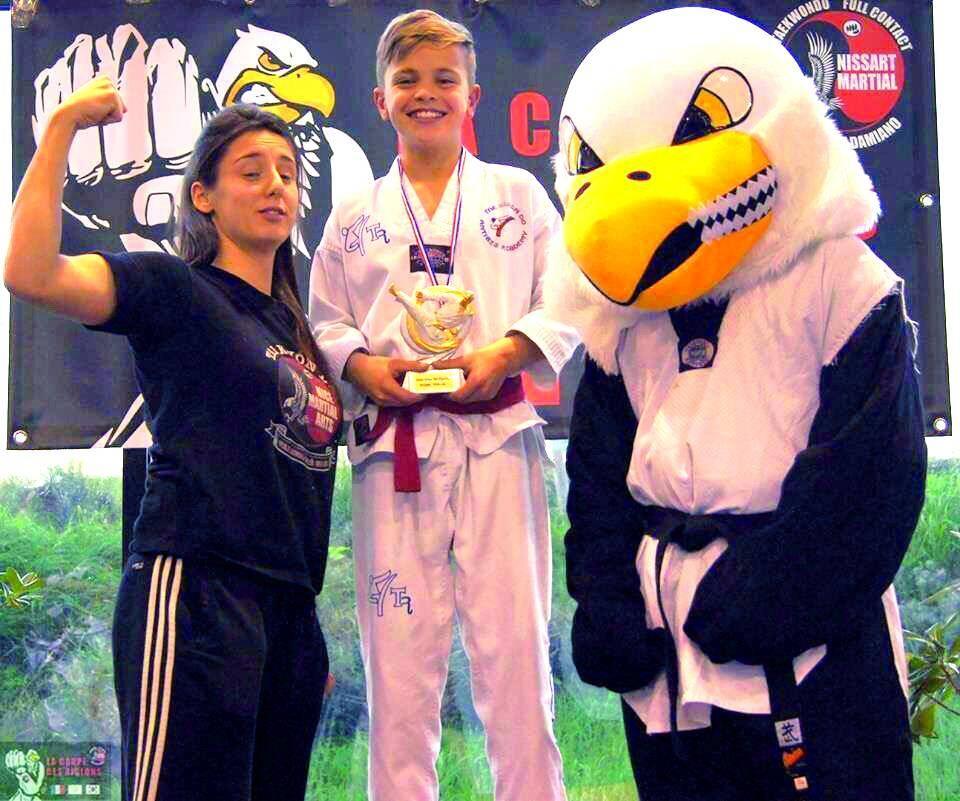 Le jeune représentant du Taekwondo Antibes Academy a brillé à Nice en remportant les épreuves de combats au plastron et de détente.(DR)