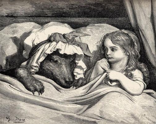 Le Petit Chaperon rouge, gravure sur bois de Gustave Doré (1867).