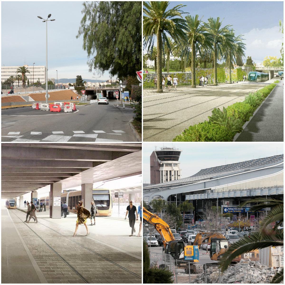 Après trois ans de travaux, l'arrivée du tramway aura transformé l'actuel accès au terminal 1 par l'avenue Lindbergh, sous la promenade des Anglais Au terminal 2, les voyageurs seront directement connectés au centre-ville en 20 minutes de trajet 3.