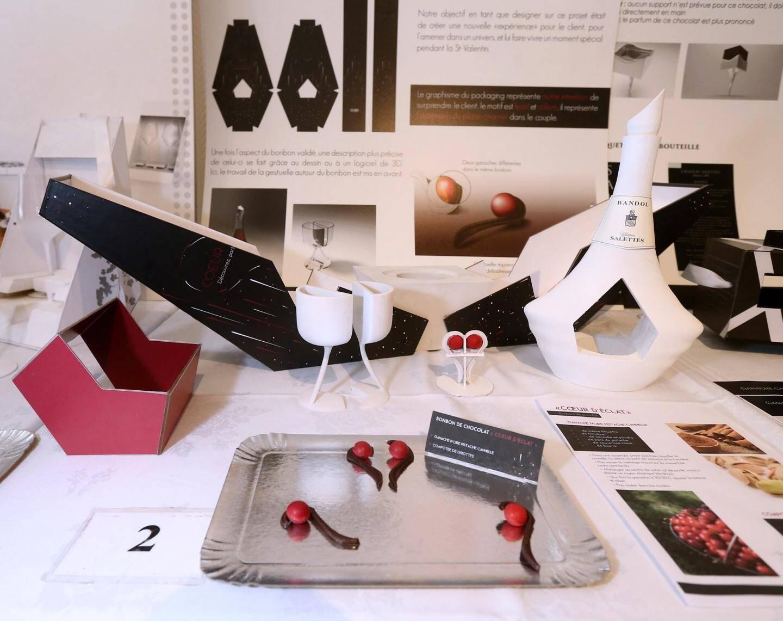 deuxième prix. Projet « Cœur d'éclat » Manon Serain, Gautier Biret, Nicolas Séménou, Mickaël Marino (chocolatiers), Quentin Fédrizzi et Martin Nees (designers).