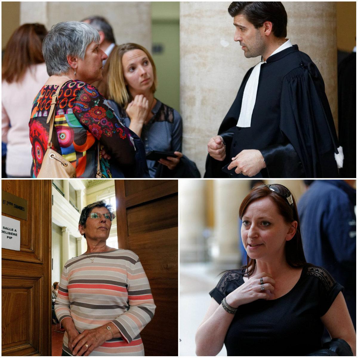 Me Courtois (en haut), Annie Mesnil et Alexandra Blachère, de l'association de victimes PPP (de gauche à droite).