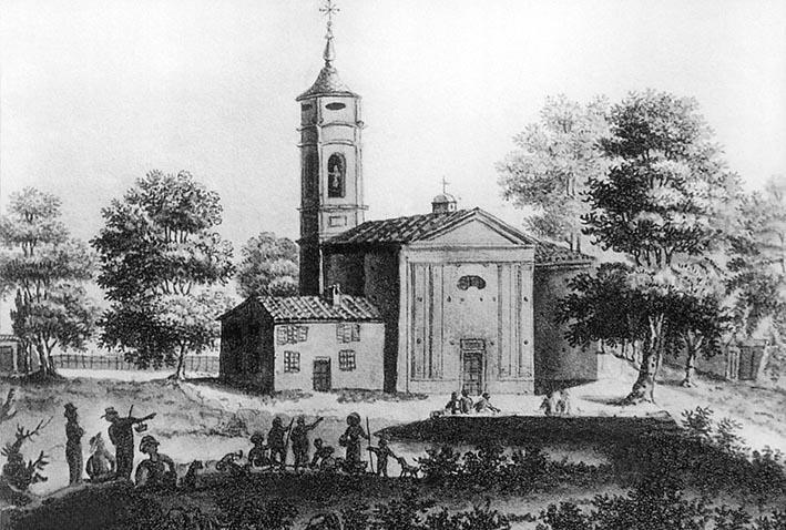 Avant les grands travaux de réaménagement, la petite église Saint-Roch est l'unique centre de vie d'un quartier, encore peu peuplé.