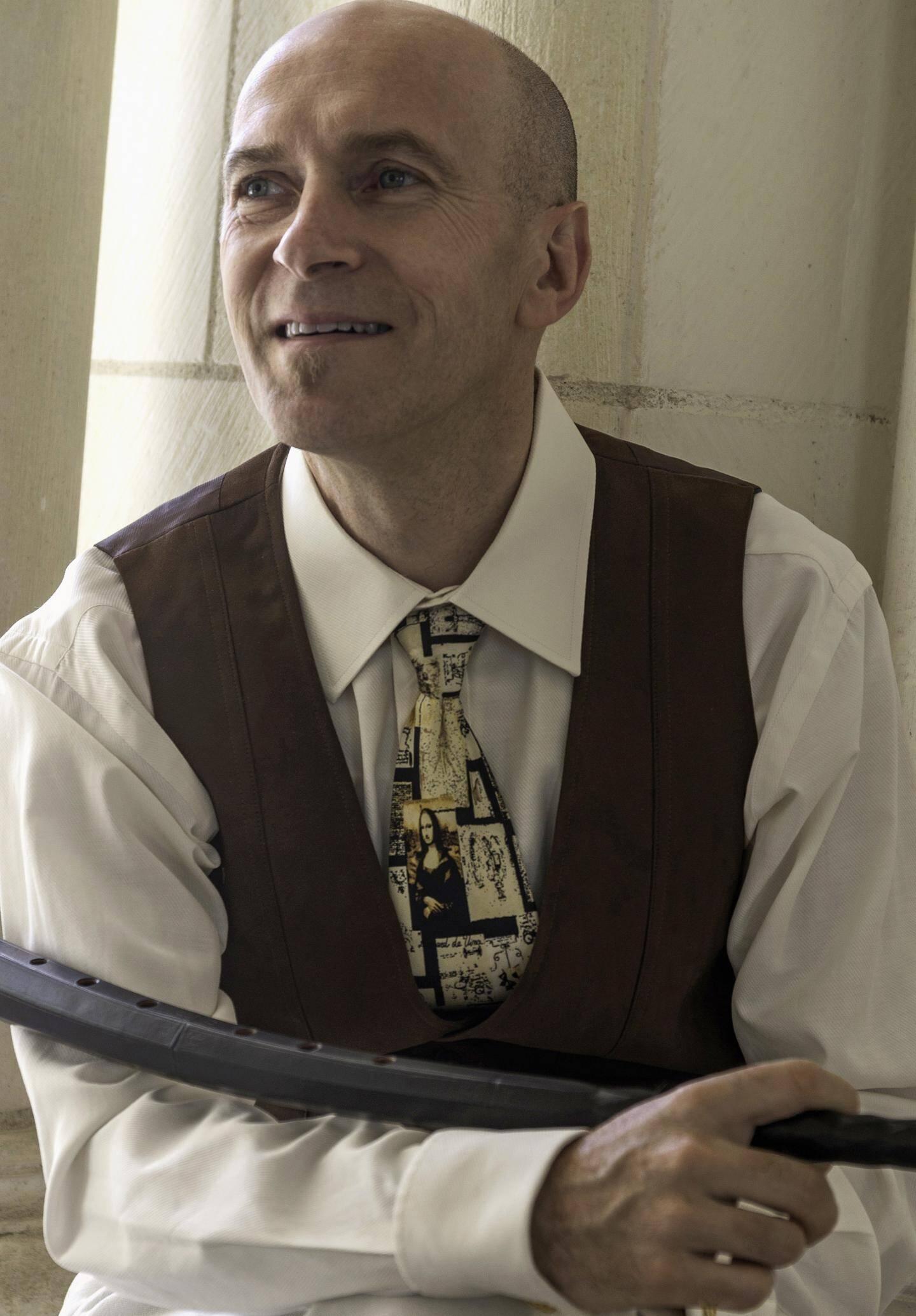 Jean Tubéry et son cornet à bouquin, un instrumentancien. (DR)