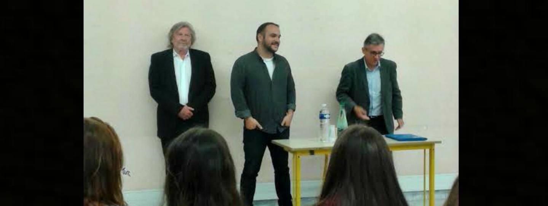 Daniel Benoin, directeur du théâtre Anthéa à Antibes, Francois-Xavier Demaison et Jean-Luc Gagliolo, conseiller municipal de Nice délégué aux théâtres.