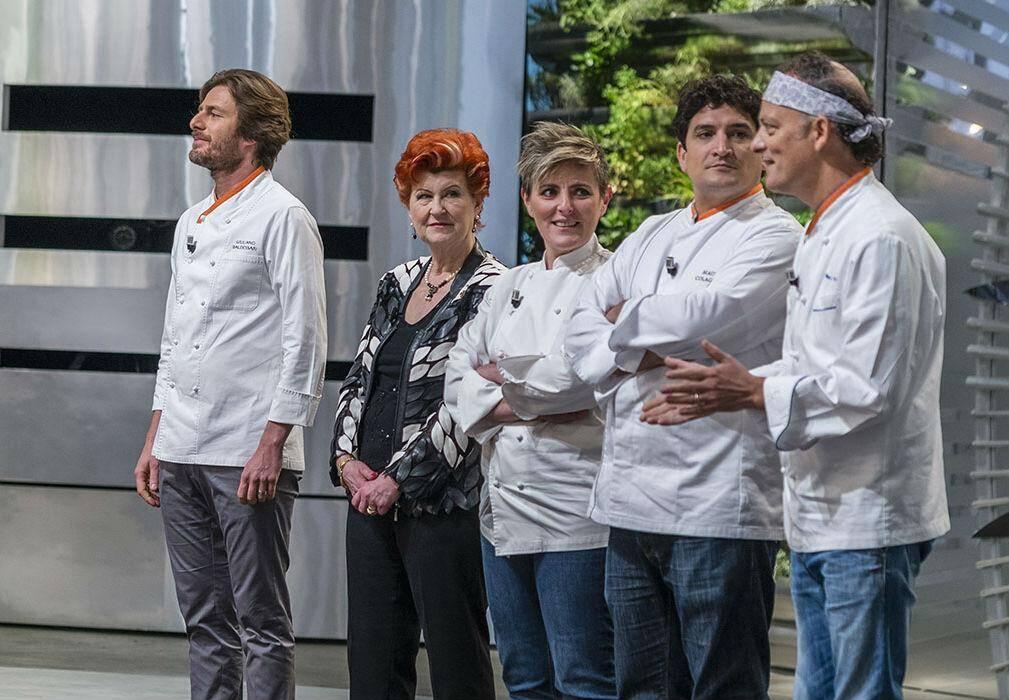 Mauro Colagreco aux côtés des autres jurés de l'émission « Top Chef ».