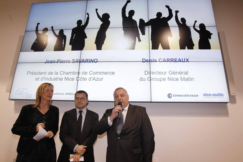 Jean-Pierre Savarino, président de la CCI Nice Côte d'Azur, et Denis Carreaux, directeur général du groupe Nice-Matin, ont salué l'esprit de conquête des entrepreneurs.