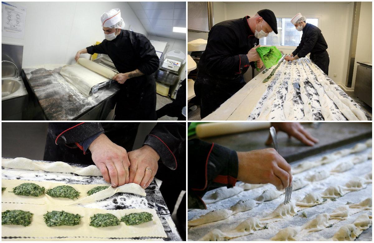 La pâte et la farce, comme les différentes étapes de confection des barbagiuans, sont réalisées à la main.