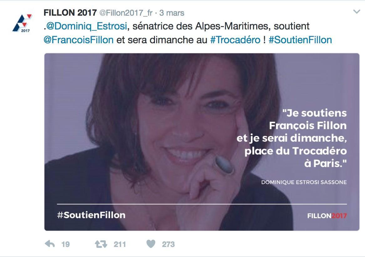 Capture d'écran du compte Twitter Fillon2017 dimanche matin