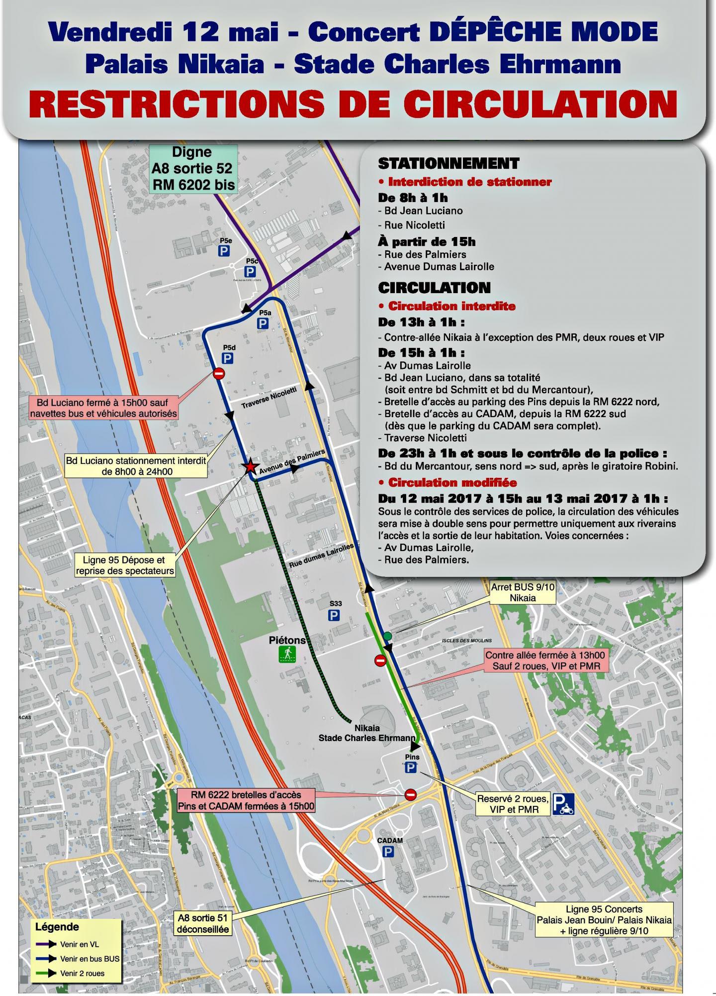 Le plan de circulation édité par la Ville de Nice.