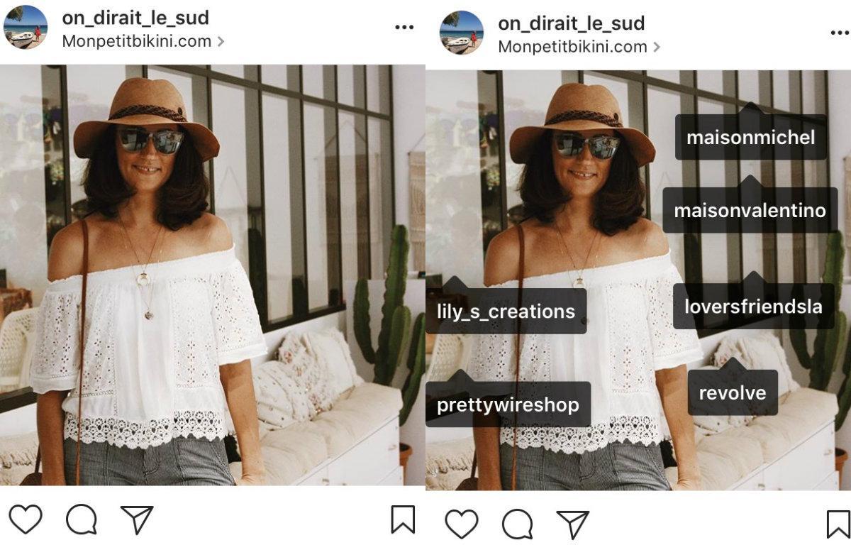 À gauche, la photo postée sur Instagram. À droite, quand on tape sur la photo, toutes les marques «taguées» par Claire apparaissent.