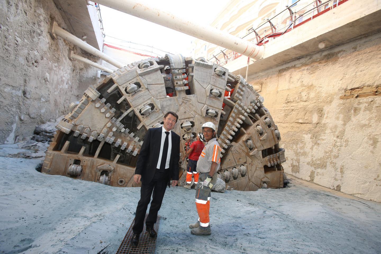Aux anges, Christian Estrosi est passé saluer la sortie du tunnelier.