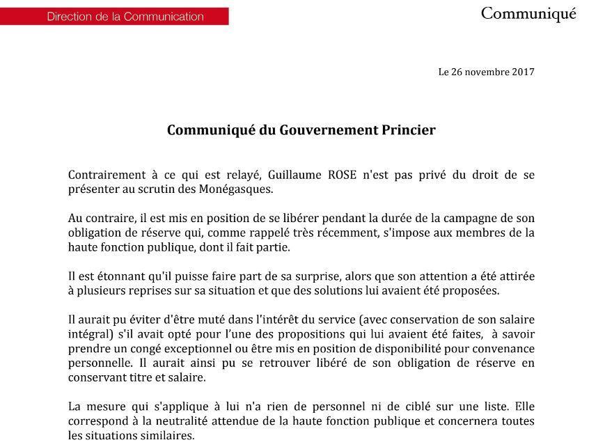 Le communiqué du gouvernement princier dans son intégralité.
