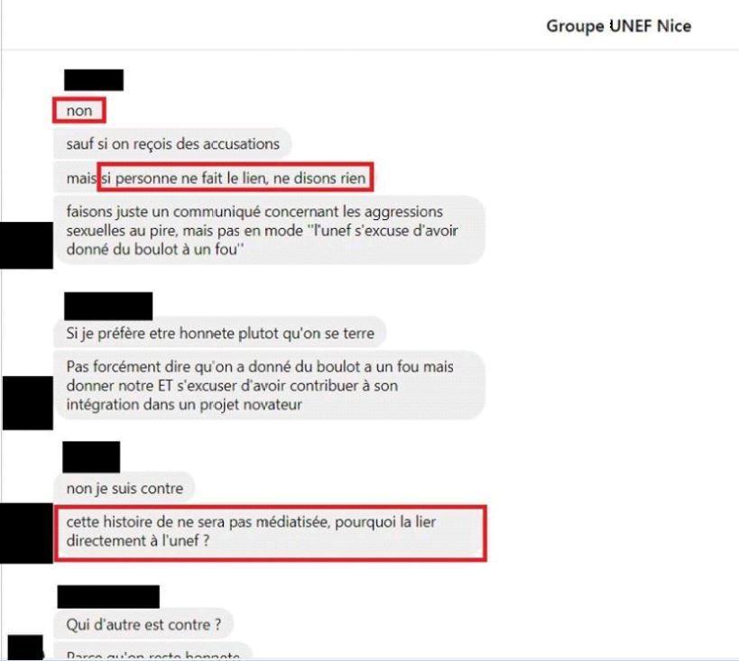 Voici un extrait des conversations au sein du groupe Unef transmis à notre rédaction et mis en ligne sur les réseaux sociaux.