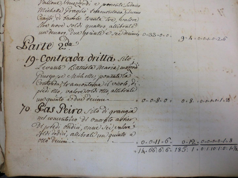 Extrait du registre communal de 1785 se rapportant à la rue Droite n°19 du plan.